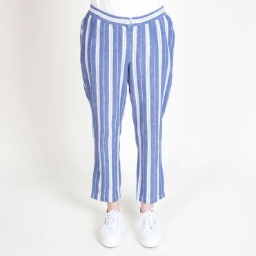 Stripe Easy Drawstring Trouser in Blue