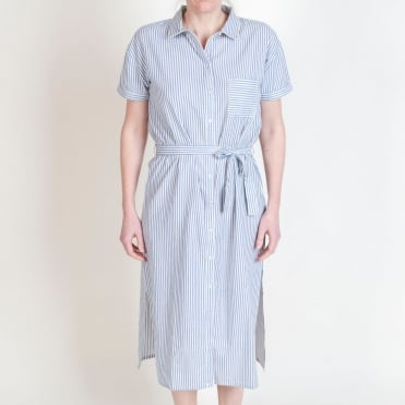 Stripe Shirt Dress in Blue
