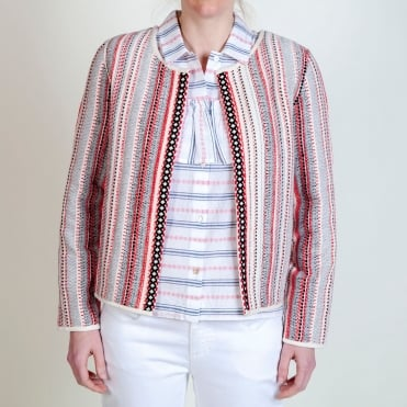 Woven Stripe Blanket Jacket in Red