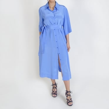 3/4 Sleeve Belted Shirt Dress in Hydrangea Blue