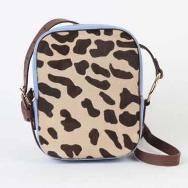 Camera Bag in Leopard / Powder Blue
