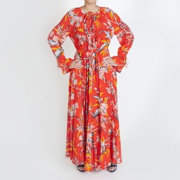 Cinch Sleeve Maxi Dress in Avalon Poppy