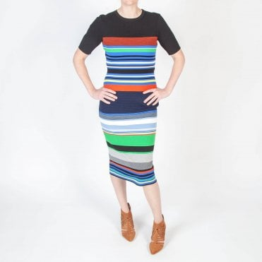 Cotton Knit Multi Stripe Dress in Multi