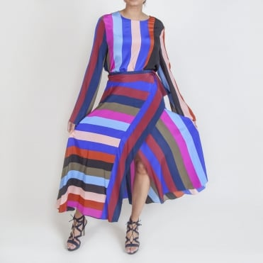 Draped Wrap Maxi Skirt in Carson Stripe Black Multi