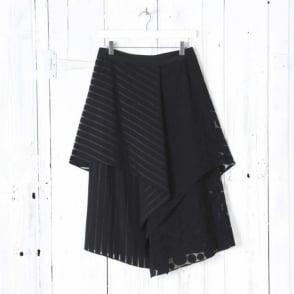 Front Ruffle Midi Skirt in Black