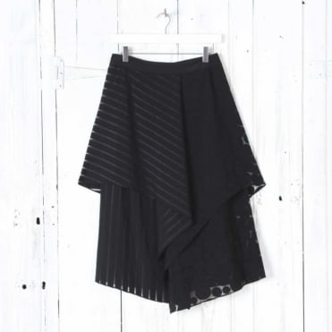 Front Ruffle Midi Skirt in Black