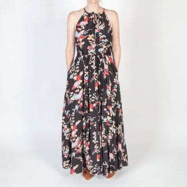 Key Hole Floral Print Maxi Dress in Black
