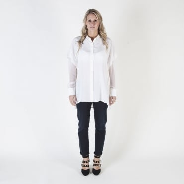 Long Sleeve Button Down Shirt in Ivory