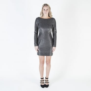 Long Sleeve Fitted Mini Dress in Black