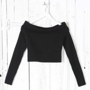 Long Sleeve Off The Shoulder Banded Knit Top in Black