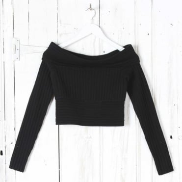 Long Sleeve Off The Shoulder Banded Knit Top in Black