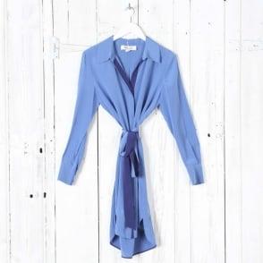 Long Sleeve Oversized Shirt Dress in Denim/Deep Violet