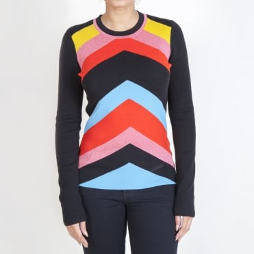 Long Sleeve Rainbow Sweater in Poppy