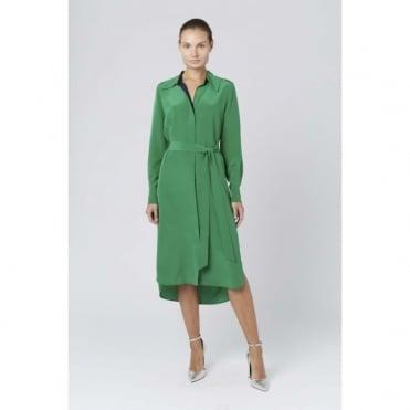 Long Sleeve Silk Shirt Dress