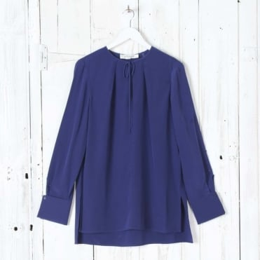 Long Sleeve Tie Front Key Hole Blouse in Deep Violet