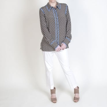 L/S Collared Shirt in Leighton Dot Olive /Hydrangea