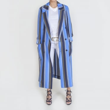 L/S Floor Length Jacket in Sussex Stripe Hydrangea
