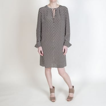 L/S Key Hole Dress in Leighton Dot Olive
