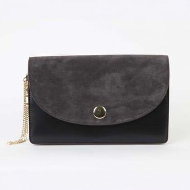 Saddle Evening Clutch in Ash/ Black