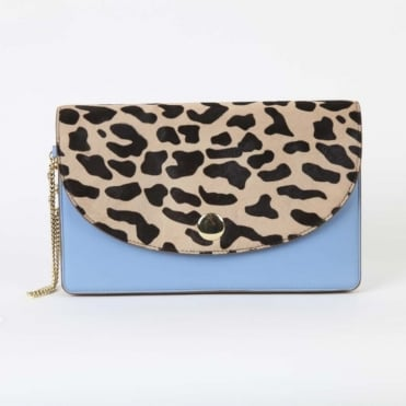 Saddle Evening Clutch in Leopard/ Powder Blue