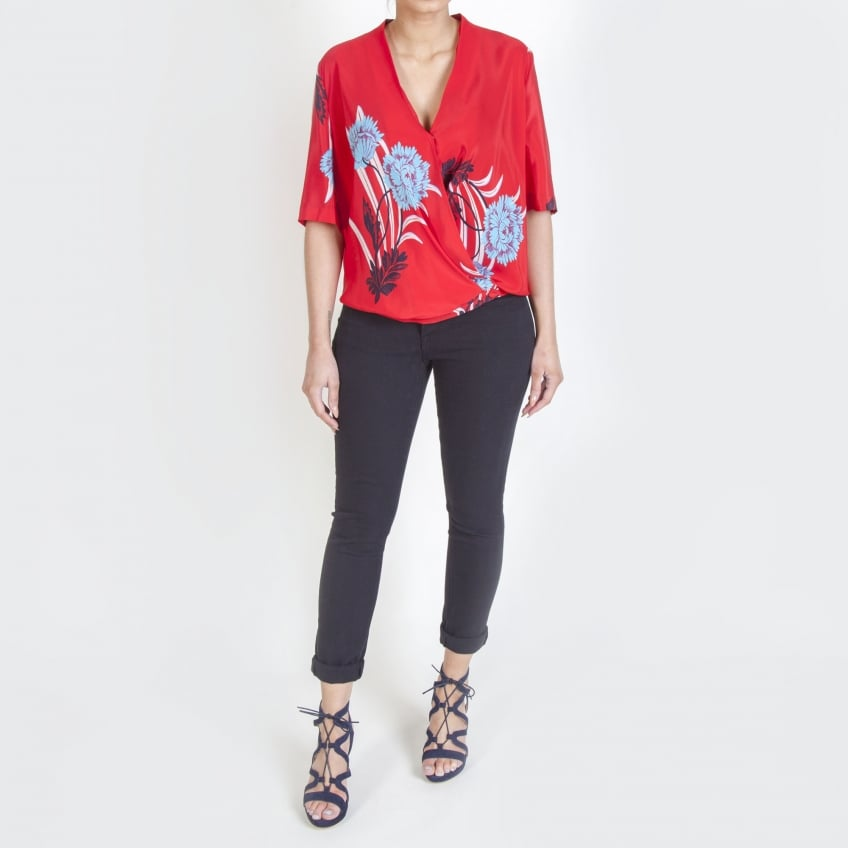 DIANE VON FURSTENBERG Short Sleeve Cross-Over Blouse in Farren Lipstick