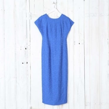 Short Sleeved Tailored Midi Dress in Bright Blue
