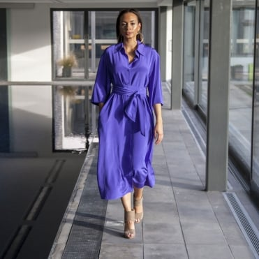 Sleeve Belted Shirt Dress in Amethyst