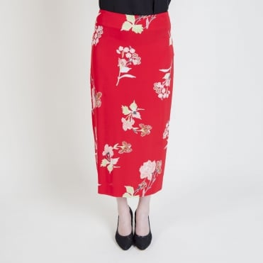 Tailored Midi Pencil Skirt in Everton Lipstick