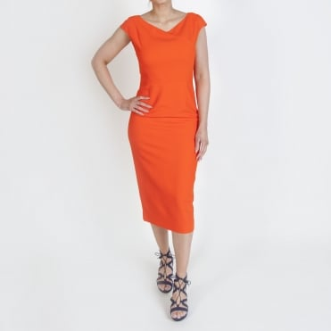 V Neck Midi Sheath Dress in Tangerine