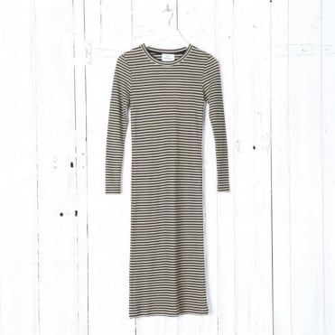 Duba Glam 2x2 Metallic Stripe Dress