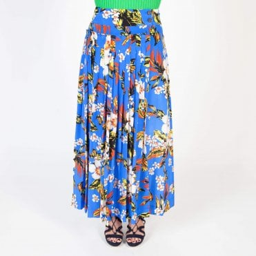 Floral Gathered Maxi Skirt in Cobalt