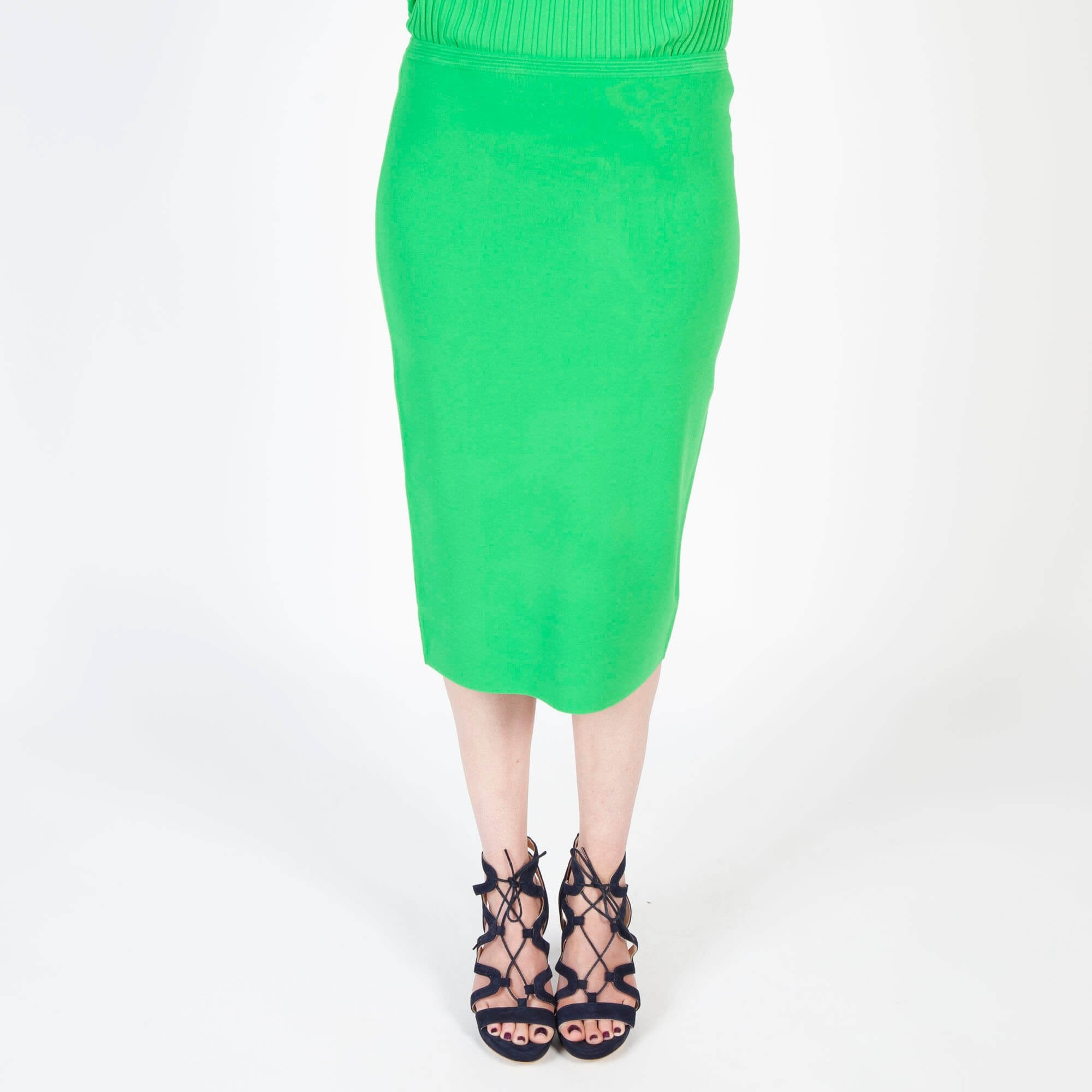9def3da0f7 DVF Knitted Pencil Skirt in Palm | Collen & Clare
