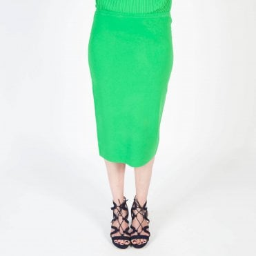 Knitted Pencil Skirt in Palm