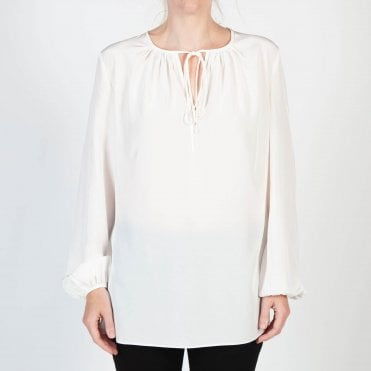 Long Sleeve Tie Neck Silk Blouse in Ivory
