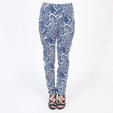 Paisley Print Skinny Trouser in Blue