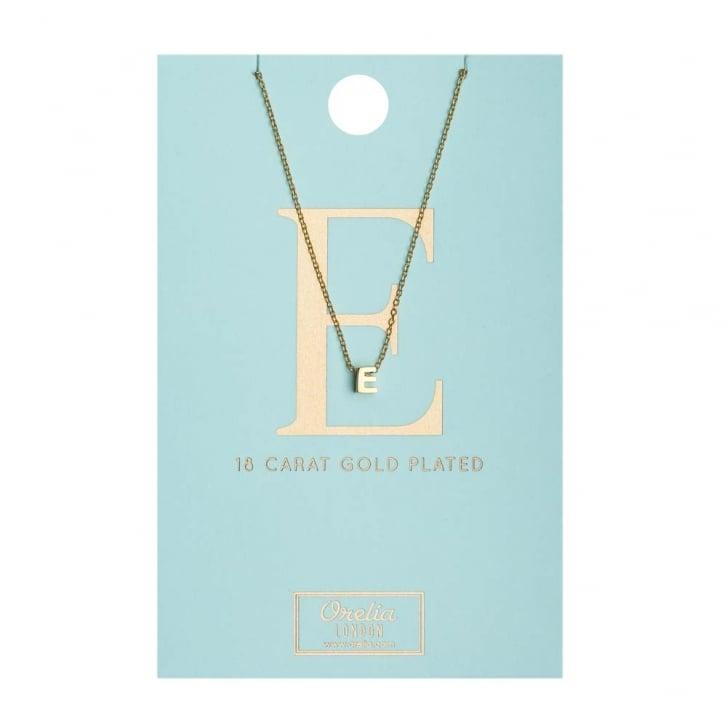 ORELIA E Initial Gold Plated Necklace