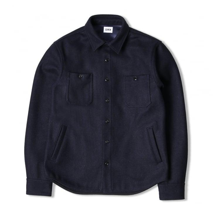 EDWIN 4 Pocket Labour Shirt in Navy