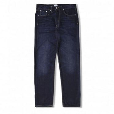 ED-45 Loose Tapered Deep Blue Denim Jean in Blue Coal Wash