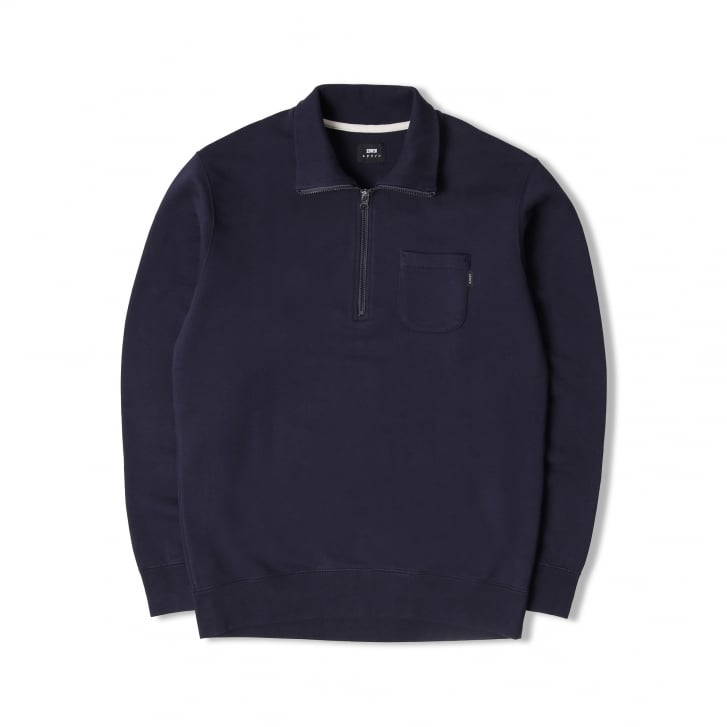 EDWIN Half Zip Popover Sweat in Navy