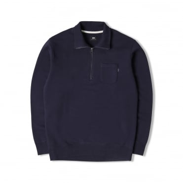 Half Zip Popover Sweat in Navy