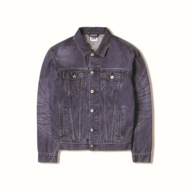 High Road Deep Blue Denim Jacket in Blue Mid Sleet Wash