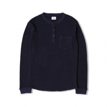 Oarsman Pocket Henley Top in Dark Indigo