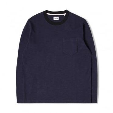 Ringer Long Sleeve T-Shirt in Navy/Black