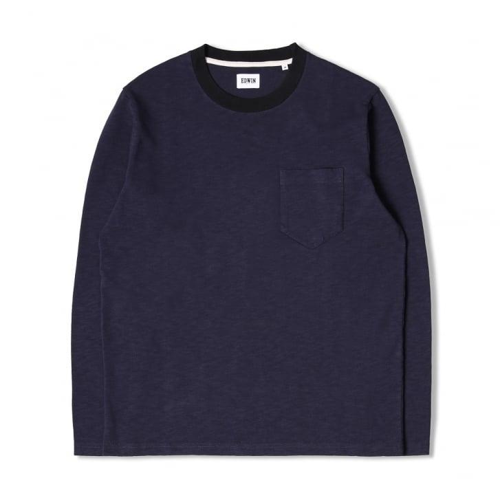 EDWIN Ringer L/S T-Shirt in Navy/Black