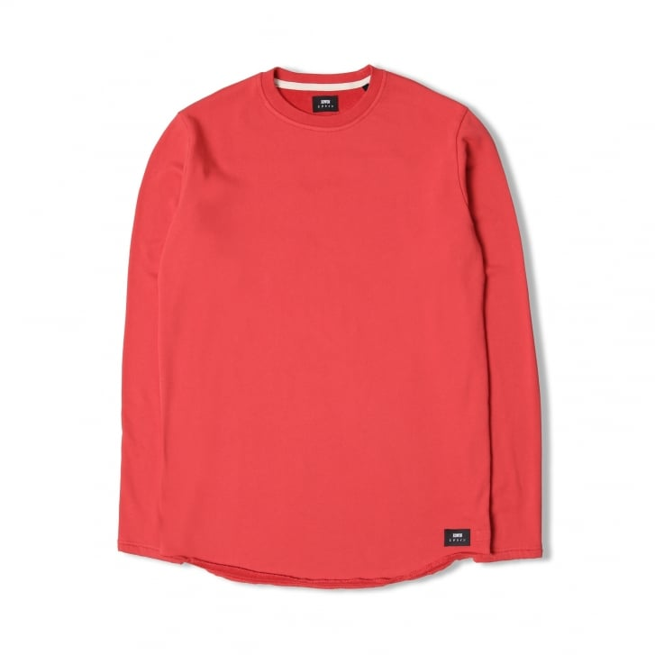EDWIN Terry LS Cotton Sweat in Red