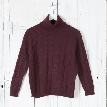 Cable Knit Soft Roll Neck in Wine