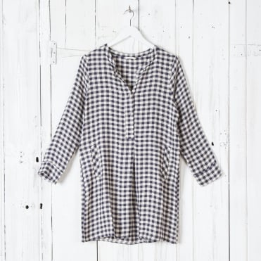 Check Print Easy Tunic Dress in Navy