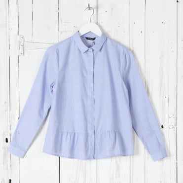 Cotton Shirt with Peplum in Eclat Blue