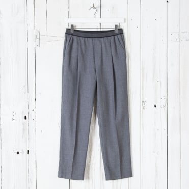 Flannel Elastic Waist Pull On Trouser in Grey