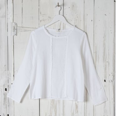Herringbone Cotton Pretty Long Sleeve Top in Off White
